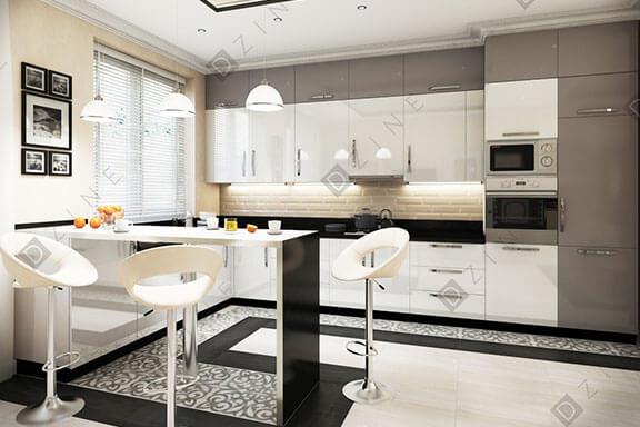 Дизайн кухни-гостиной в коттедже