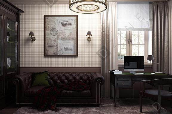 Дизайн-проект кабинета в английском стиле