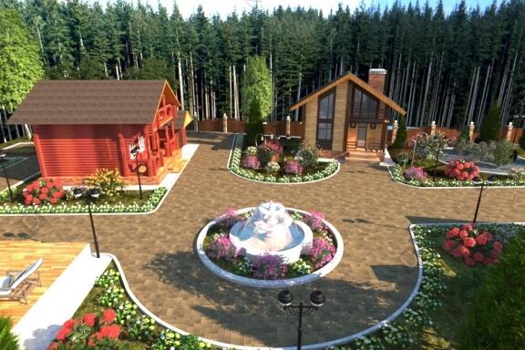 Дизайн территории загородного комплекса