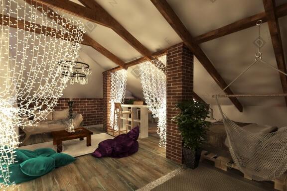 Дизайн комнаты отдыха в загородном коттедже