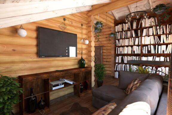 Дизайн частной библиотеки в загородном доме