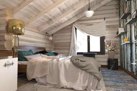 Дизайн-проект спальни на мансардном этаже
