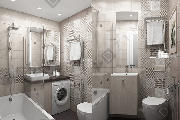 Дизайн-проект ванной в ЖК Цветы