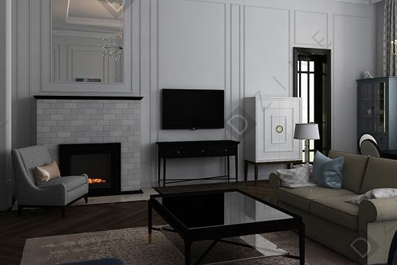 Дизайн-проект гостиной в стиле неоклассика в коттедже