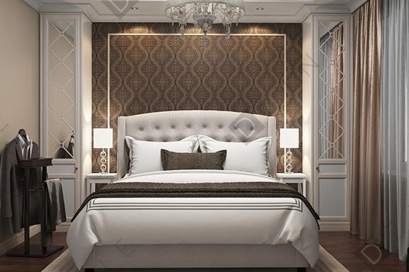 Дизайн спальни в квартире с мебелью DZINE