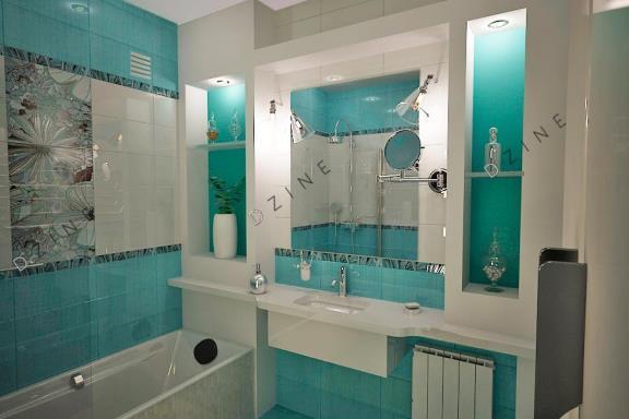 Дизайн интерьера ванной в бирюзовом цвете