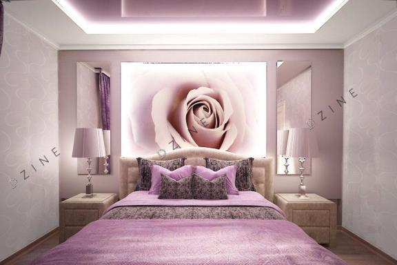 Дизайн интерьера спальни в лиловом цвете