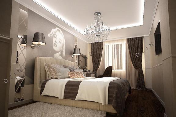 Дизайн-проект интерьера спальни в стиле неоклассика для девушки