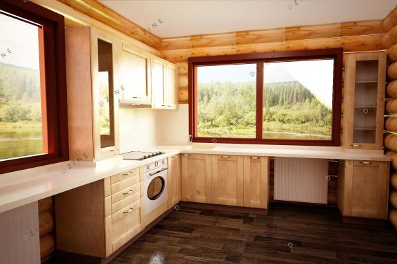 Дизайн-проект интерьера кухни в коттедже
