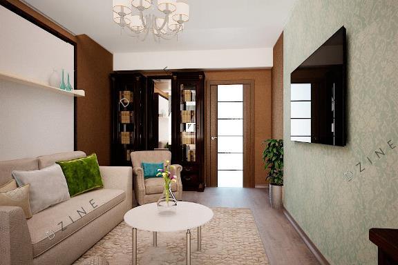 Дизайн-проект интерьера комнаты спальни-гостиной
