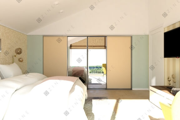 Дизайн спальни в каркасном доме