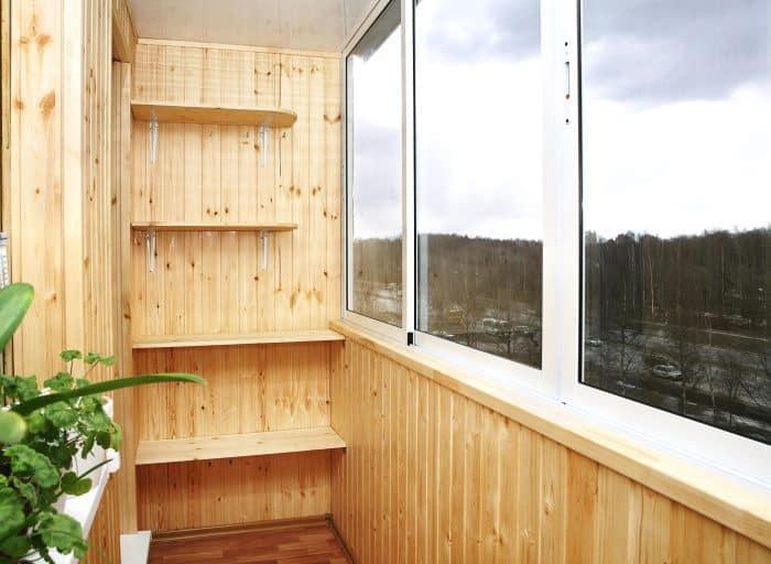 интерьер балкона дерево