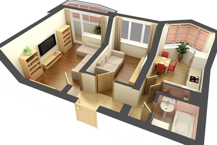 3D проект двухкомнатной квартиры