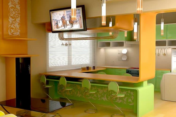 кухни студии: современное исполнение с барной стойки
