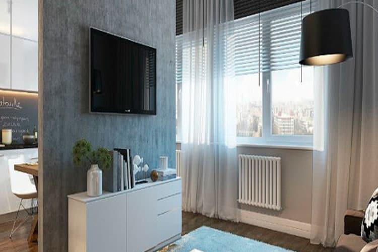 Зонирование спальни и кухни в квартире-студии